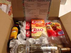 Great adult gift exchange idea- jello and pudding shot kit with vodka, kahlua/baileys, jello, pudding and shot cups!