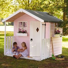 Bay Tree Play House - Definitely the accommodation of choice for Hansel and Gretel...    This beautiful wooden play house features: two Georgian windows; 2' verandah; white painted door and window boxes; safety glazing, curtains not included.