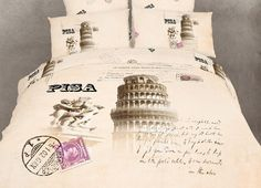 NEW - Pisa Bedding Leaning Tower Italian Themed Comforter Cover Duvet Set by Dolce Mela DM494Q @ www.designedtoinspirebedding.com