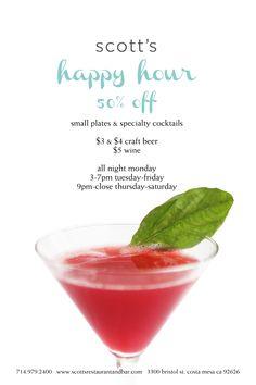 Happy Hour.  Scott's Restaurant & Bar