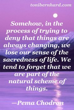 """""""We tend to forget that we are part of the natural scheme of things."""" Pema Chodron"""