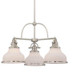"""Quoizel GRT5103 Grant 3 Light 24"""" Wide Chandelier Brushed Nickel Indoor Lighting Chandeliers"""