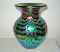 SENSATIONAL Rainbow IRIDESCENT Lundberg Glass VASE Textural DESIGNS Free US Ship