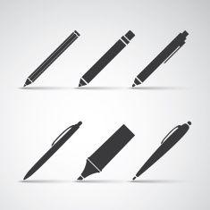 Set of Writing Tool Illustrations vector art illustration