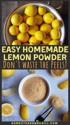 How to Make & Use Lemon Peel Powder - Got lemons? Don't waste the peels! Instead, turn them into a delicious, zesty, sweet dried lemon - Lemon Curd Dessert, Lemon Health Benefits, Lemon Uses, Use Of Lemon, Tandoori Masala, Dried Lemon, Sauce Barbecue, Homemade Spices, Homemade Breads