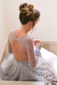 modest grey deep v neck long prom dresses with sleeves, unique open back party dresses with beading, gorgeous long sleeves prom dresses with stars #promdress #amazingdress #fashiondress