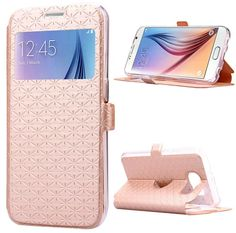 Galaxy S6 - Subtle Textured Flip Window Wallet Case in Assorted Colors