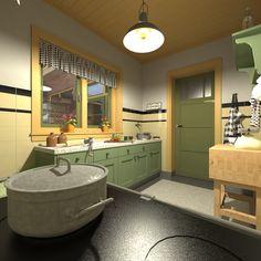 Corner Bathtub, Double Vanity, Tiny House, Kitchen Ideas, Bathroom, Vintage, Home, Nostalgia, Washroom