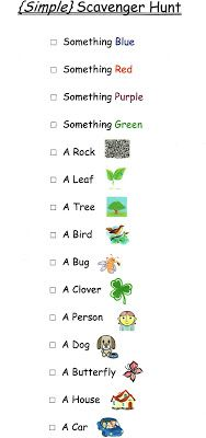 Simple, Printable Outdoor Scavenger Hunt.  Has pictures for kids who can't read yet.