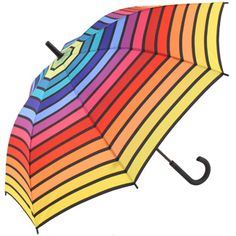 £18.95 - Esprit #Rainbow #Stripes #Umbrella - Yellow Border - brolliesgalore.co.uk