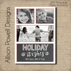 3 photo Christmas Card  Holiday Wishes  by allisonpowelldesigns, $15.00