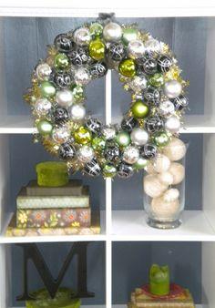 Green silver white ornament wreath