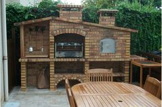 BBQ and ovens-Mediterranean Brick Barbecue Barbacoa Jardin, Parrilla Exterior, Brick Bbq, Pizza Oven Outdoor, Wood Fired Oven, Bbq Area, Home Landscaping, Outdoor Kitchen Design, Barbecue Grill