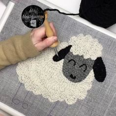 Punch Needle Sheep with Wool Yarn Punch Needle Sheep with wool rug yarns. All supplies are available at www. Hand Embroidery Videos, Embroidery Stitches, Embroidery Patterns, Print Patterns, Punch Needle Kits, Punch Needle Patterns, Rug Yarn, Wool Yarn, Wool Rugs