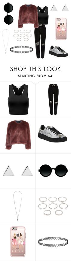 """""""Untitled #573"""" by verca000 ❤ liked on Polyvore featuring River Island, Stine Goya, Puma, Jennifer Meyer Jewelry, Moscot, Forever 21 and Casetify"""