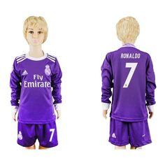 Real Madrid Fodboldtøj Børn 16-17 Cristiano Ronaldo 7 Udebane Trøje Langærmet.  http://www.fodboldsports.com/real-madrid-fodboldtoj-born-16-17-cristiano-ronaldo-7-udebane-troje-langermet.  #fodboldtrøjer
