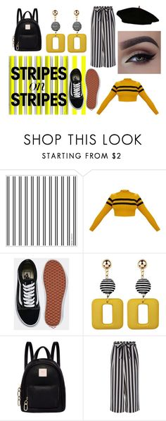 """""""Stripes on Stripes Hello yellow"""" by popeyemxxx ❤ liked on Polyvore featuring Vans, Fiorelli, stripesonstripes and PatternChallenge"""