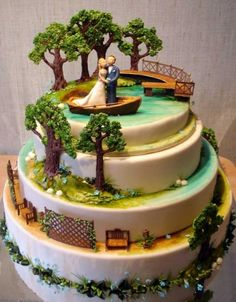 This site has lots of unique wedding cake decoration inspiration. It is in another language so just click on the picture and you go to a different cake?!