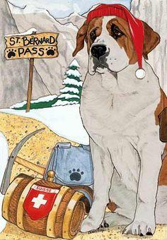 Saint Bernard Christmas Cards $14.95