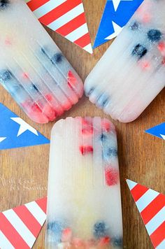 July 4th Coconut Berry Popsicles