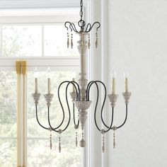 Feminine French Country Bartles 5 - Light Candle Style Classic / Traditional Chandelier with Beaded Accents French Country Chandelier, Globe Chandelier, Chandeliers, Wheel Chandelier, Hanging Beads, Provence Style, Kelly Clarkson, White Candles, Wood Accents