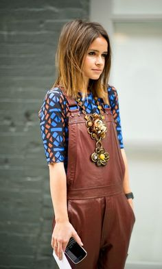 Mahogany leather overall with printed top