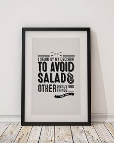"Leslie Knope ""Avoid Salad"" Typographic Poster. Black and white TV Quote from Parks & Recreation. DIY Printable"
