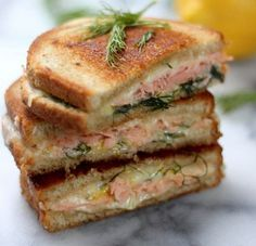 Smoked Salmon & Gruyere Grilled Cheese - A simple yet fancy sandwich perfect for Mother's Day! Lemon zest and dill brighten the sandwich and compliment the cheese perfectly. For a hint of sweetness try making this sandwich with Martin's Potato Bread! Grill Sandwich, Smoked Salmon Sandwich, Smoked Salmon Recipes, Fish Recipes, Seafood Recipes, Cooking Recipes, Steak Sandwiches, Burger Recipes, Brunch Recipes