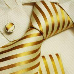 Gold ties for men beige father s day gift ideas accessories silk necktie cufflinks set H5071 $29.99