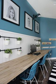 Household No.6 » Northern Colorado renovations and designs. Clean and modern kids homework station. Art room, clean and crisp. Blue. White shiplap. Black and white. Fun and funky room.