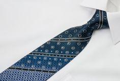 Pierre Cardin Rhinestone Necktie Stripes On Navy With Silver Sparkles