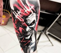 Awesome black and red realistic tattoo style of Joker motive done by artist Jakub Hanus | Post 16774 | World Tattoo Gallery - Best place to Tattoo Arts