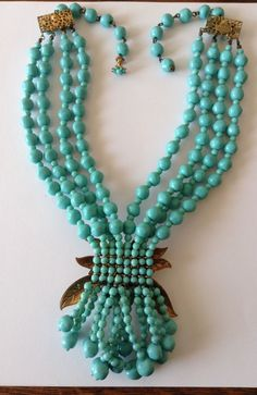 VINTAGE MIRIAM HASKELL SIGNED 4 STRAND BAROQUE TURQUOISE BEAD AND LEAF NECKLACE | eBay