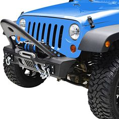E-Autogrilles 51-0366 07-16 Jeep Wrangler JK Black Textured Stinger Front Bumper with OE Fog Lights Housing and Winch Plate