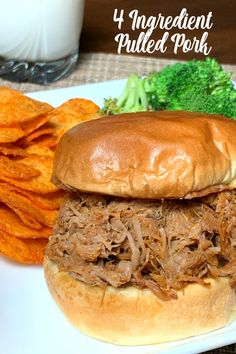 Our family makes Farmhouse Slow Cooker Pulled Pork recipe at least once a month! The best meals can be the easy meals!  Four ingredients, pork shoulder, seasoning and pop in a crock pot for the entire day make one of our favorite meals, pulled pork.  Add barbecue sauce for a great sandwich recipe to feed a crowd or meal prep for several family meals. #pulledpork