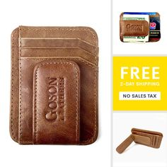 a5ed03b8548cb1 Genuine leather Money Clip ID Credit Card Case Holder Slim Wallet Front  Pocket. This attractive leather wallet has 6 card slots and one ID window.