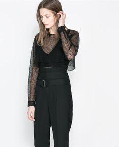 TOP STUDIO RÉSILLE- ZARA Lattice Top, Zara, Boutique, Studio, Winter, Image, Pants, Closet, Shirts