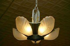 Restored Markel slip shade chandelier