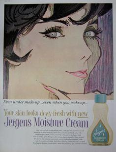1959 Jergens Moisture Cream Vintage Advertisement Bedroom Wall Art Cosmetics Bathroom Decor Original Magazine Print Ad Paper Ephemera by RelicEclectic on Etsy