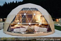 geodesic glamping dome kit with bay window for luxury camping experience on mountain with beautiful nature scenery. Sauna Infravermelho, Bell Tent Camping, Bubble Tent, Family Glamping, Yurt Living, Geodesic Dome Homes, Shower Tent, Eco Buildings, Back To Nature