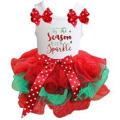 Christmas Dress Polka Dots 1st Red White Chevron L//s Shirt Petal Skirt Set 1-8y