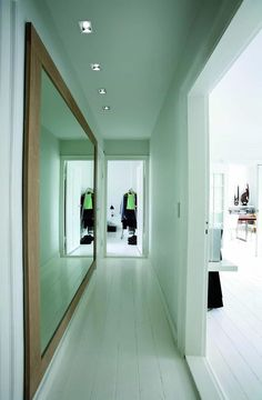 Hallway Mirrors Can Brighten The Space Hallway mirrors are interior decorating magic. When properly placed, hallway mirrors ensure positive energy throughout hallway. Hallway Mirror, Tiled Hallway, Lighted Wall Mirror, Upstairs Hallway, Entry Hallway, Mirror Ideas, Mirror Mirror, Entryway Lighting, Entryway Decor