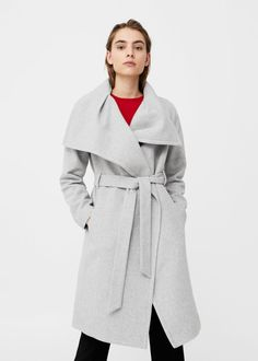 Wide lapel wool-blend coat -  Women | MANGO USA