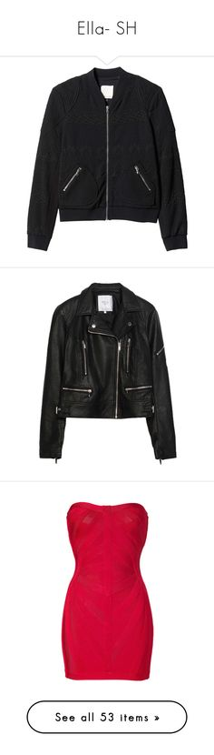 """Ella- SH"" by inestrindade on Polyvore featuring outerwear, jackets, black, blazers, coats & jackets, flight bomber jacket, rebecca taylor jacket, blouson jacket, blazer jacket and bomber style jacket"