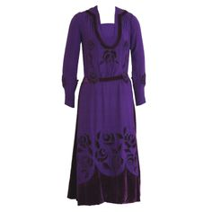 1920's Royal-Purple Velvet & Silk Cut-Work Roses Cocktail Dress | From a collection of rare vintage day dresses at http://www.1stdibs.com/fashion/clothing/day-dresses/