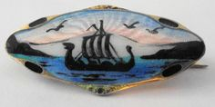 ELVIK STERLING VIKING SHIP- SCENIC-ENAMEL- SCANDINAVIAN NORWAY BROOCH - 85$