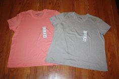 NEW Womens EDDIE BAUER Pink Gray Crew Neck Short Sleeve Shirt Lot of 2 3XL XXXL #EddieBauer #BasicTee