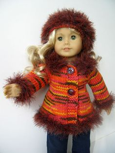 """for sale this one of a kind 18"""" American Girl AG DOLL AUTUMN Fall clothes hand knitted 2 pc coat"""