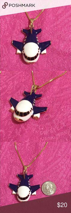 Super cute airplane enamel necklace Super cute! Jewelry Necklaces