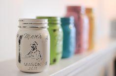 Spray Painted mason jars tutorial